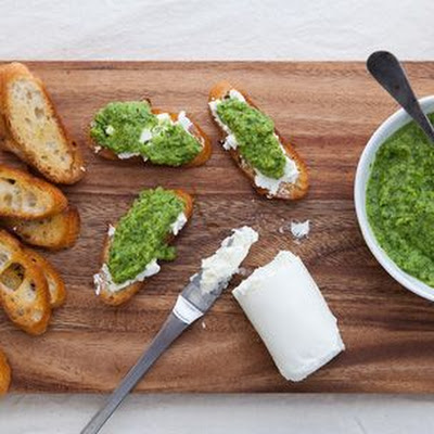 Goat Cheese Crostini with Spring Pea Puree