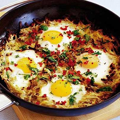 Potato Cake With Chilli Eggs