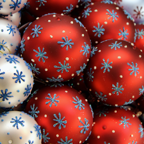 Ornaments by Brianne Cronenwett - Novices Only Objects & Still Life ( decoration, christkindlmarket, christmas, snowflakes, white, snowflake, handmade, object, ornaments, red, blue, ornament, glitter,  )