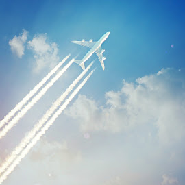 imagination by Leslie Hunziker - Transportation Airplanes ( clouds, sky, airplane, travel )