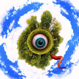 Watching by David Clark - Digital Art Things ( planet, little, surreal, weird, little planet, eye )