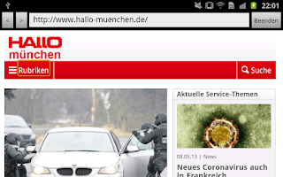 Screenshot of HALLO münchen