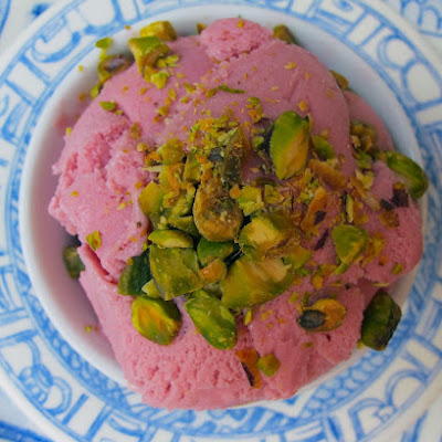 Raspberry Kirsch Gelato with Pistachios