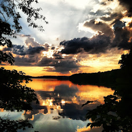 Clearfork Sunset by Chuck Hagan - Instagram & Mobile iPhone ( clouds, sunset, lakes, clearfork,  )