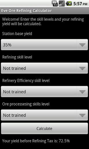 Eve Ore Refining Yield Calc
