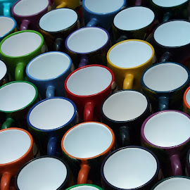 Cups at the Market by Robert Hamm - Artistic Objects Cups, Plates & Utensils ( abstract, cup, otavalo, craft, ecuador, colorful, texture, handmade, shape, material, mug, market, color, outdoor )