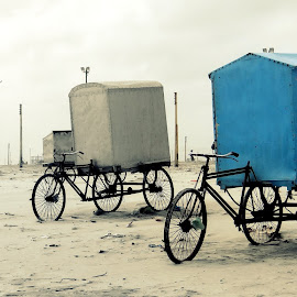 The black and white life... by Saumy Nagayach - Novices Only Objects & Still Life ( cycle, blue, kolkata, india, windmill )