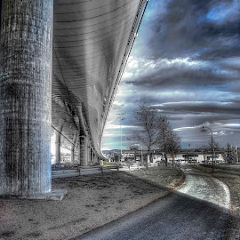 Safe ride under highway by Morten Golimo - City,  Street & Park  Street Scenes ( drammen, highway, bicycle path, norway, bicycle )