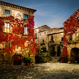 Tuscan Square by Sheldon Anderson - Buildings & Architecture Homes ( hilltown, village, tusacny, stone, italy )