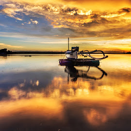 Golden Sunset by Dewa Rastama - Landscapes Sunsets & Sunrises ( reflection, dewa rastama, sky, sunset, nikon, boat, golden )