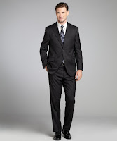 JACK VICTOR STUDIO charcoal Loro Piana super 120's wool two-button suit with flat front pants