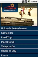 Screenshot of Tourism Saskatchewan