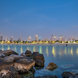 Stones and Towers by Andy Arciga - City,  Street & Park  Skylines ( canon 6d, towers, night photography, dubai, long exposure,  )