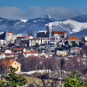 Grad Grobnik, HR by Slavko Marcac - City,  Street & Park  Historic Districts ( mountains, winter, castle )