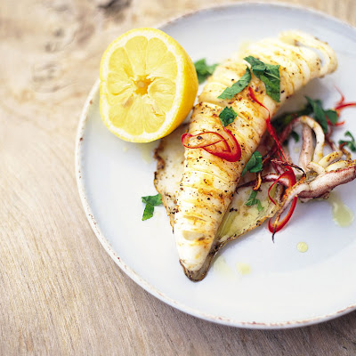 Chargrilled Whole Squid With Chilli & Mint
