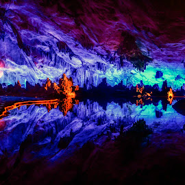 Reed Flute Cave by Indrawaty Arifin - Landscapes Caves & Formations ( reflection, cave, stalagnite, light )