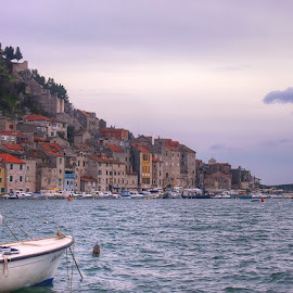 Sibenik City by Josipa Mrša - City,  Street & Park  Skylines ( urban, old, purple, sunset, boats, buildings, sea, skylines, cityscape, coast, colours )