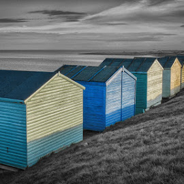 Tankerton Beach Huts by Dan Horton-Szar ARPS - Buildings & Architecture Other Exteriors ( monochrome, selective colour, black and white, whitstable, kent, beach huts, sea, beach, seaside, tankerton, coast )