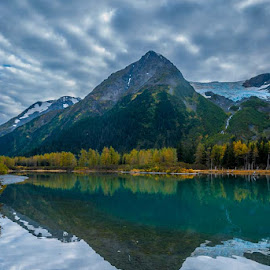 Alaska by Leslie Nu - Landscapes Cloud Formations ( water, water reflections, hills, mountains, waterscape, alaska, trees, lake, landscape, portage lake )