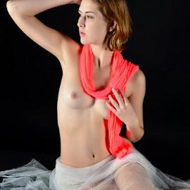 vailed nude by Andrzej Pradzynski - Nudes & Boudoir Artistic Nude ( studio, model, sitting, nude, bare body, female, kelly, lowkey )