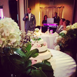 Wedding couple celebrate a toast with the wedding cake in the foreground.. by Julie Dabour - Wedding Reception ( beautiful, weddings, weddingday, brideandgroom, bestman, toast, champagne, weddingcake, weddingreception, gorgeous, bankstannex, easton, pennsylvania )