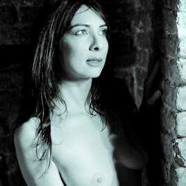 Moonlight by Placido Castiglione - Nudes & Boudoir Artistic Nude ( nude, black and white, blue, portrait )