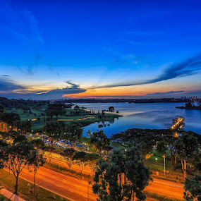 My First 2014 Sunrise by CK Lam - City,  Street & Park  City Parks ( lower seletar reservoir, park, light trails, sunrise, singapore )