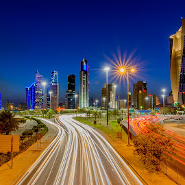 City Lights by Bakir Ali - Buildings & Architecture Office Buildings & Hotels ( lights, blue hour, hamra tower, buildings, light trails, nightscape,  )