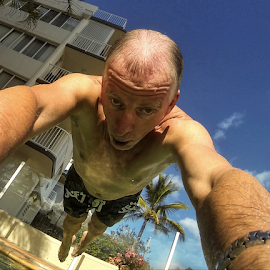 Diving in by Howard Ferrier - Sports & Fitness Swimming ( water, selfie, queensland, waterview, pool, airborne, dive, leisure, caloundra, wet, diving, Selfie, self shot, portrait, self portrait )
