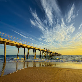 Port Noarlunga Jetty at Sunset by Zdenka Rosecka - Buildings & Architecture Bridges & Suspended Structures