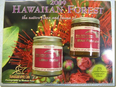Hawaiian Forest Calendar, Maui Jelly Factory Lilikoi Butter and Poha Berry Jam
