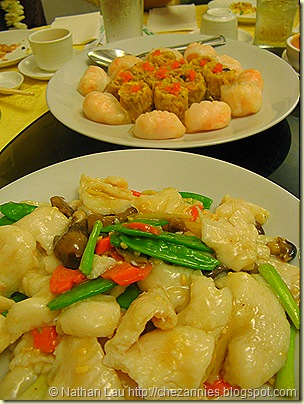 pork hash and ha gau, seasbass with veggies