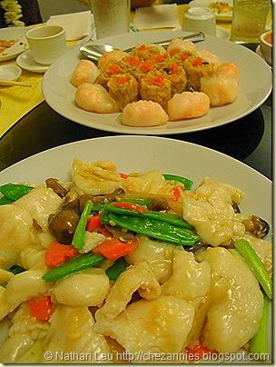 pork hash and ha gau, seasbass with veggies