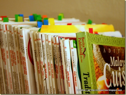 Our Cookbook and Magazine Shelf with Tabs for Saved Recipes