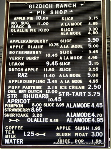 Pie Shop Menu at Gizdich Ranch