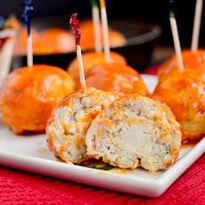 Feta-Stuffed Buffalo Chicken Meatballs