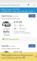 Screenshot of rentalcars.com Car hire App