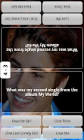 Screenshot of Justin Bieber Test Quiz