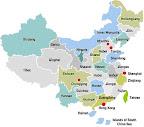 Mapa de las cuatro escuelas de la Comida China