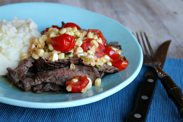 Grilled Skirt Steak with Warm Corn and Cherry Tomato Salad Recipe ...