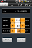 Screenshot of Blood Pressure Tab
