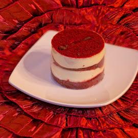 Red Velvet Cake by Sandy Friedkin - Food & Drink Candy & Dessert ( red, plate, cale, white ., velvet )