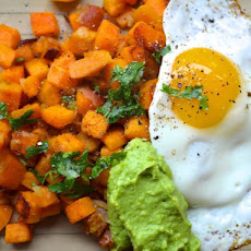 Bacon and Sweet Potato Hash with Avocado Cream