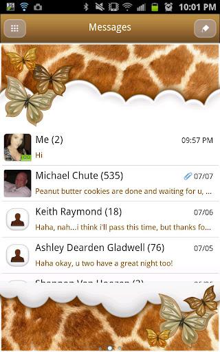GO SMS - Butterfly Giraffe Sky