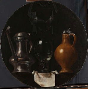 RIJKS: Johannes Torrentius: Emblematic Still Life with Flagon, Glass, Jug and Bridle 1614
