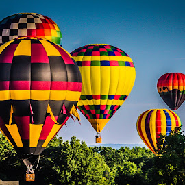 Sunrise Balloon Rides by John Covin - Transportation Other ( balloon festival 2011, cr2, landscape, hot air balloons )