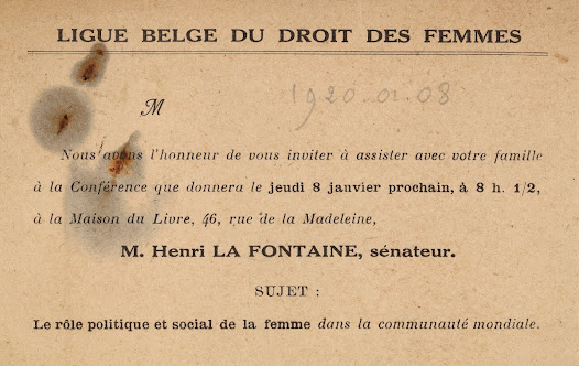Lecture on the political and social role of women in the world's community, given by Henri La Fontaine (1920)