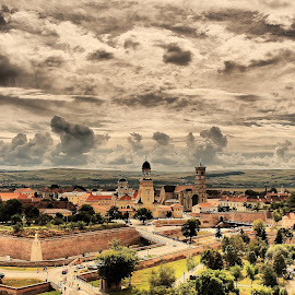 Sunday brings an interesting dance of clouds over the citadel (the Alba Carolina Fortress) by Madalin Ciortea - City,  Street & Park  Skylines ( park, hdr, retro, romania, landscape, alba iulia )