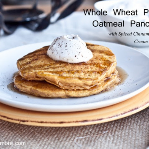 Whole Wheat Pumpkin Pie Pancakes with Cinnamon Caramel Syrup