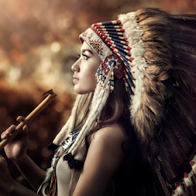 playing flute by Ivan Lee - People Portraits of Women ( canon, model, girl, flute, indian, beauty,  )